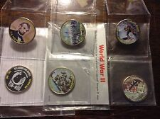 6 pc JFK Kennedy Half Dollar Colorize - POW, Peal Harbor Lincoln,Bull Run & more