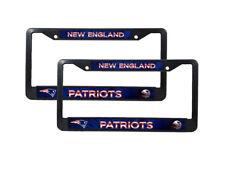 New England Patriots NFL Black Plastic (2) Auto License Plate Frame Set