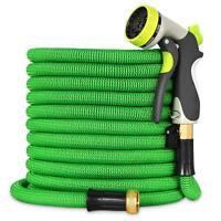 Heavy Duty Expandable Garden Hose /Brass Connector/Spray Nozzle/Bag/Green 100FT
