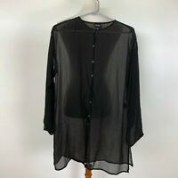 Eileen Fisher Women's Size Small Black Sheer Crepe Blouse Button Down Tunic