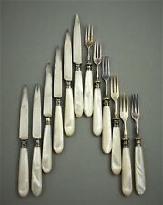 ANTIQUE JETZLER SWISS 800 SILVER FRUIT KNIFE & FORKS SET MOTHER of PEARL (P87)