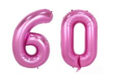 """Huge 40"""" 60 Pink Foil Number Balloons Photo Shoot 60th Birthday Float Helium USA"""