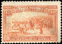 Used Canada 1908 15c F+ Scott #102 Quebec Tercentenary Issue Stamp