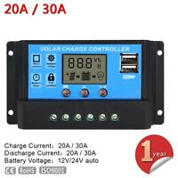 LCD 20A/30A 12V/24V PWM Solar Panel Battery Regulator Charge Controller PQ