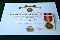 NDSM National Defense Service Medal and Certificate Army Navy Air Force Marines