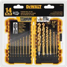 Dewalt DW1354 Pilot Point Titanium Ready Drill Bit Tool Set 14 Piece Wood Metal