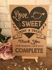 Sweet Table Cart Candy Bar Wedding Sign Recycled Kraft Card RusticVenue
