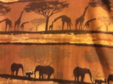 """Safari Golden Sunset"" elephant giraffe fleece fabric, 60"" wide, sold BTY"