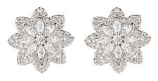 CLIP ON EARRINGS - silver star earring with clear crystals - Celina