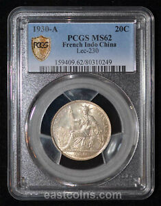 PCGS MS62 1930-A French Indo China Silver 20 Cents (SKU 112)