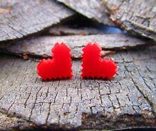 Pixel Heart Earrings Stainless Steel Studs Earrings 8 Bit Video Game Red Heart