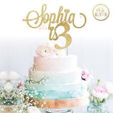 Name Cake Topper three glitter Custom Personalised Cake Topper third 3rd