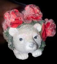 🌟Gisela Graham White Hedgehog Red Rose Christmas Tree Decoration Animal Fantasy