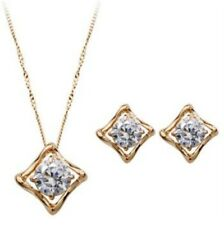 Rose Gold Swarovski Elements Pendant Necklace & Stud Earring Set-Bridal Gift