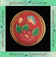Vintage 70s Cloisonne Red Enamel Floral Flowers Butterfly Gold Plated Brooch Pin