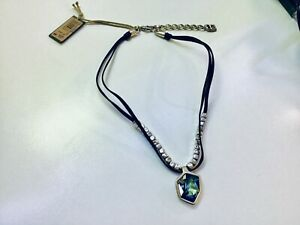 "Nwt Uno de 50 Silver-plated/Black Leather/Sahara Blue Necklace ""Fresh"""