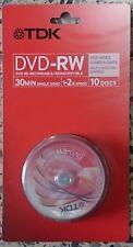 TDK DVD-RW 1,4 gb  bobina de 10 unidades- 1-2 x Speed