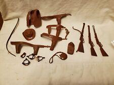 Vintage Marx Johnny West Brown Figure Accessories Rifle Guns Holster Hat