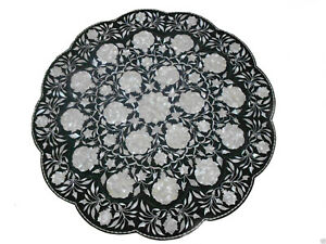 "24"" Marble Table Top Pietra Dura Floral Inlay Handicraft Work room decor"