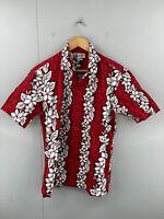 Aloha Republic Men's Vintage Short Sleeve Hawaiian Shirt Size M Red Made in USA