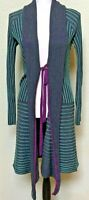 Alberto Makali Womens Large Gray Green Open Front Cardigan Wool Blend Ribbed
