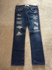 HOLLISTER Dark Skinny Specialty Jeans Holes & Studs  *7* Great Condition!