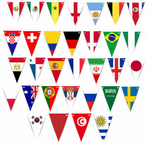 Top Quality 40FT Long Flags of The World Fabric Triangle Party Bunting
