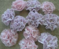 Vintage Chenille Bedspread Fabric Flowers~Ruffly White Rosebuds on Pink