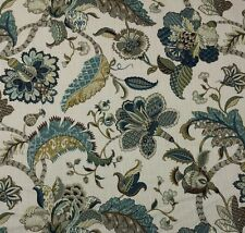 "BALLARD DESIGNS COURTNEY PEACOCK BLUE JACOBEAN FLORAL FABRIC BY THE YARD 54""W"