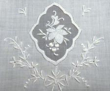 PAIR Vintage MADEIRA Embroidery Organdy Linen Hand Towels - Gorgeous Hand Done