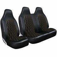 RENAULT TRAFIC - DELUXE BLACK QUILTED DIAMOND LEATHER VAN SEAT COVERS 2-1