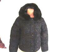 Victoria's Secret Wool Poly Lurex Removable Faux Fur Puffer Jacket Black  M