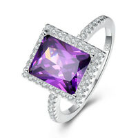 Engagement Gift Ruby & Amethyst & White Topaz Gemstone Silver Ring Size L N P R
