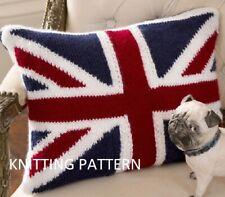 (618) Cushion COPY Knitting Pattern, Union Jack Design in Aran yarn