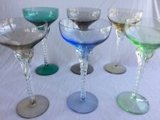 Art glass colorful vintage drink ware with swirled stems