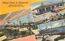 Miami DRIVE IN RESTAURANT ~W. ATLANTIC CITY NJ~ Great multi-image Linen Adv PC