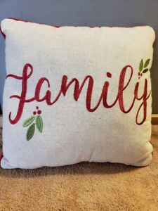 """Christmas Pillow Family Holly Berries Linen 11"""" x 11"""""""