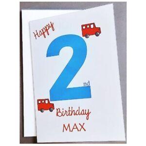 Personalised 2nd Birthday Card Boy -  2 Years Old - Son Grandson Nephew