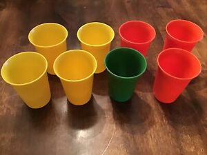 Tupperware #109 Bell Tumbler 7 Oz Juice Cups Kids Yellow Red Green LOT of 8
