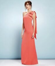 NWT NICOLE MILLER New York Bow Shoulder Crepe Coral Gown Dress Size 4 MSRP $278