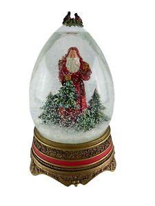 """Hallmark Father Christmas 9"""" Musical Egg Snow Globe  """"Deck the Halls"""" Free Ship"""