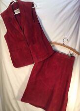 Ladies DEERSKIN leather vest/skirt set, cranberry red, size 16, nylon satin line