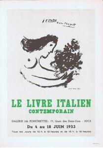 MARC CHAGALL- LE LIVRE ITALIEN  (1953)  AFFICHE- VINTAGE -1966- NO RESERVE