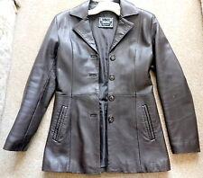 "Vera Pelle Dark Brown Genuine Leather Women's 28"" Hip Coat Jacket Italy Sz S EXC"