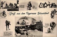 Tegernsee Bayern Postkarte ~1950/60 Gruß aus dem Bräustüberl Karikaturen Inneres