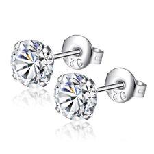 Women Men Crystal Silver Plated Cubic Zirconia CZ Round Stud Earrings 3MM-8MM CH