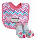 Stephan Baby Chevron Birthday Girl Striped Birthday Cake Bib  Sock Set 616244