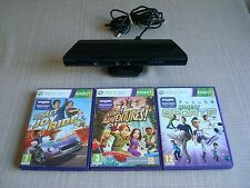 OFFICIAL XBOX 360 KINECT SENSOR  +3 GAMES  BUNDLE, FREE RECORDED POSTAGE