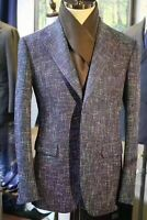 Blue Men Tweed Suit Formal Business Office Groom Tuxedo Prom Party Casual Suits