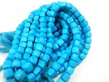 "1 Strand Turquoise 3D Cube Box Faceted Briolette 7-8mm, 8""inch Gemstone Beads"